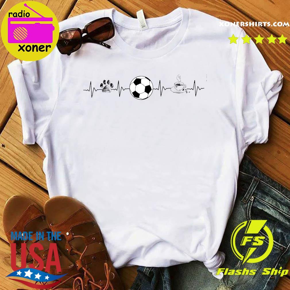 Heartbeat Dog Soccer And Coffee Shirt
