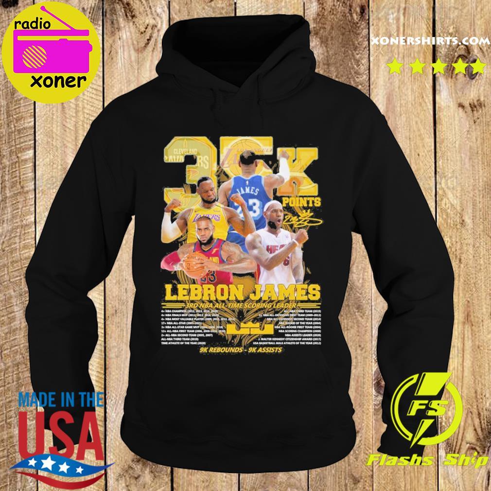 Official 35k Lebron James 3rd NBA time scoring leader 9k Rebounds 9k assists s Hoodie