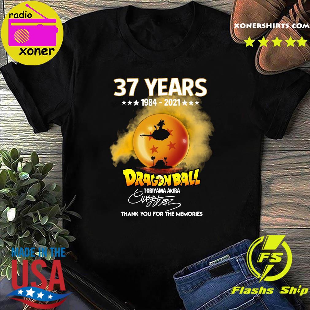 Official 37 Years of 1984 2021 Dragon Ball toriyama Akira signature thank you for the memories shirt
