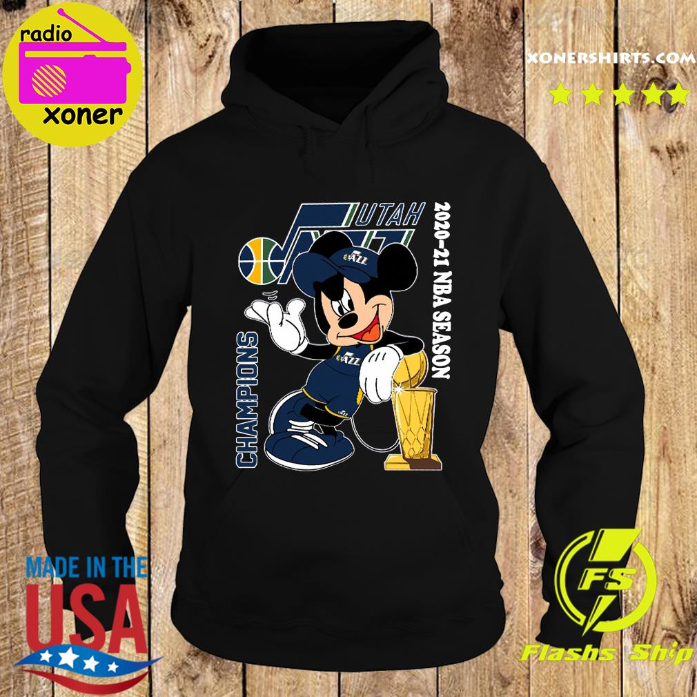 The Mickey Mouse With Utah Jazz 2020 2021 Season Champions Shirt Hoodie