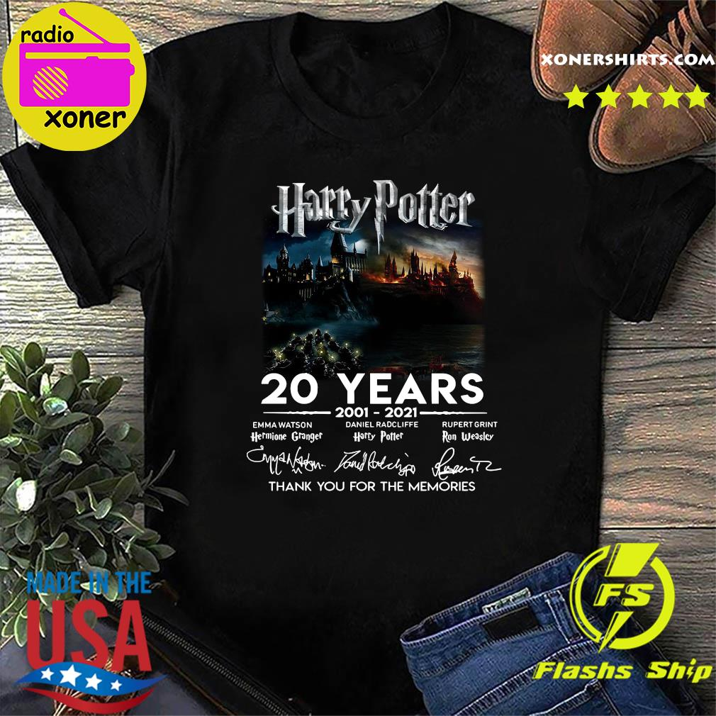 Funny Harry Potter Movie 20 Years 2001 2021 Signatures Thanks For The Memories Shirt