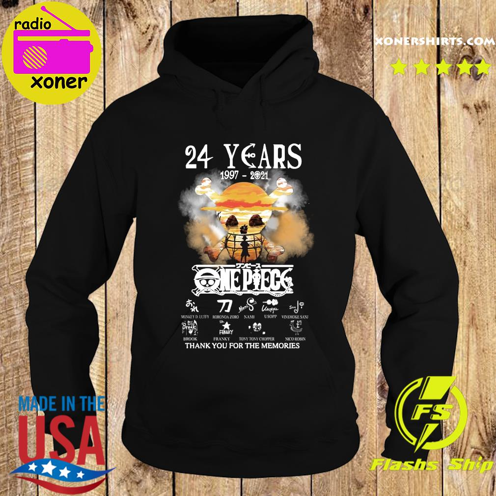 Official One Piece 24 Years 1997 2021 Signatures Thanks For The Memories Shirt Hoodie