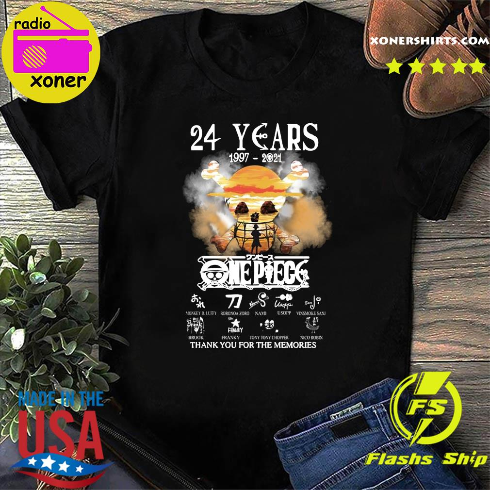 Official One Piece 24 Years 1997 2021 Signatures Thanks For The Memories Shirt