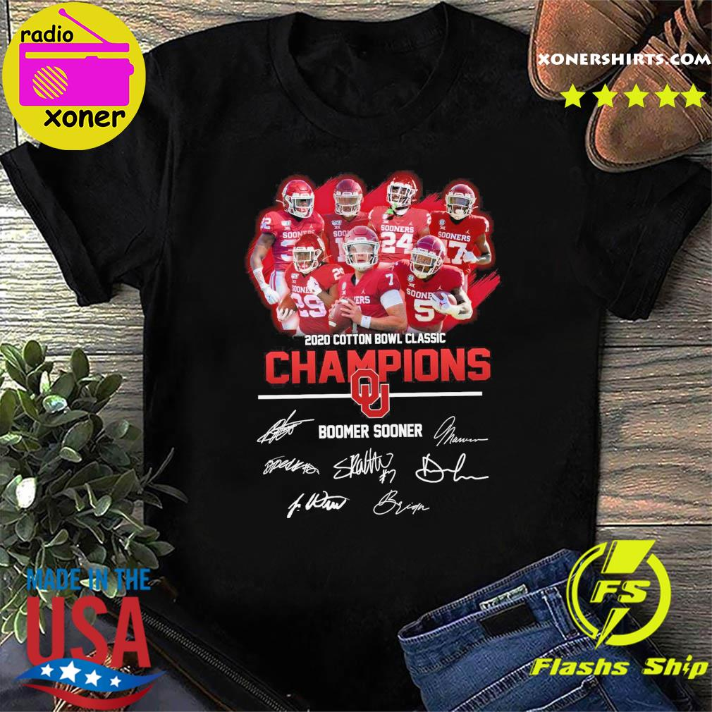 The Boomer Sooner Team Football Players 2020 Cotton Bowl Classic Champions Signatures Shirt