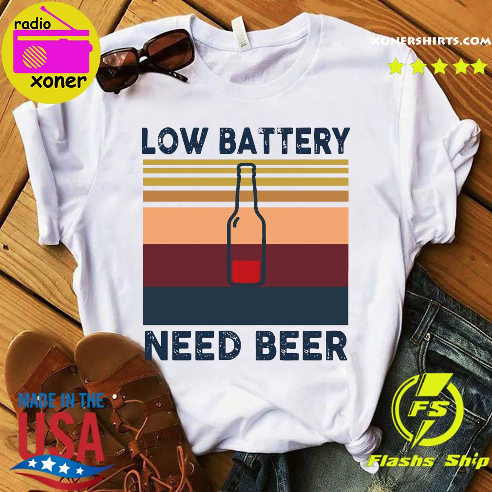Low Battery Need Beer Vintage Retro Shirt