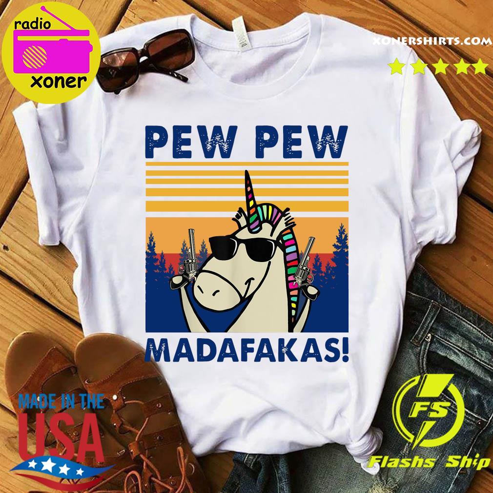 Official Unicorn Pew Pew Madafakas Vintage Retro Shirt