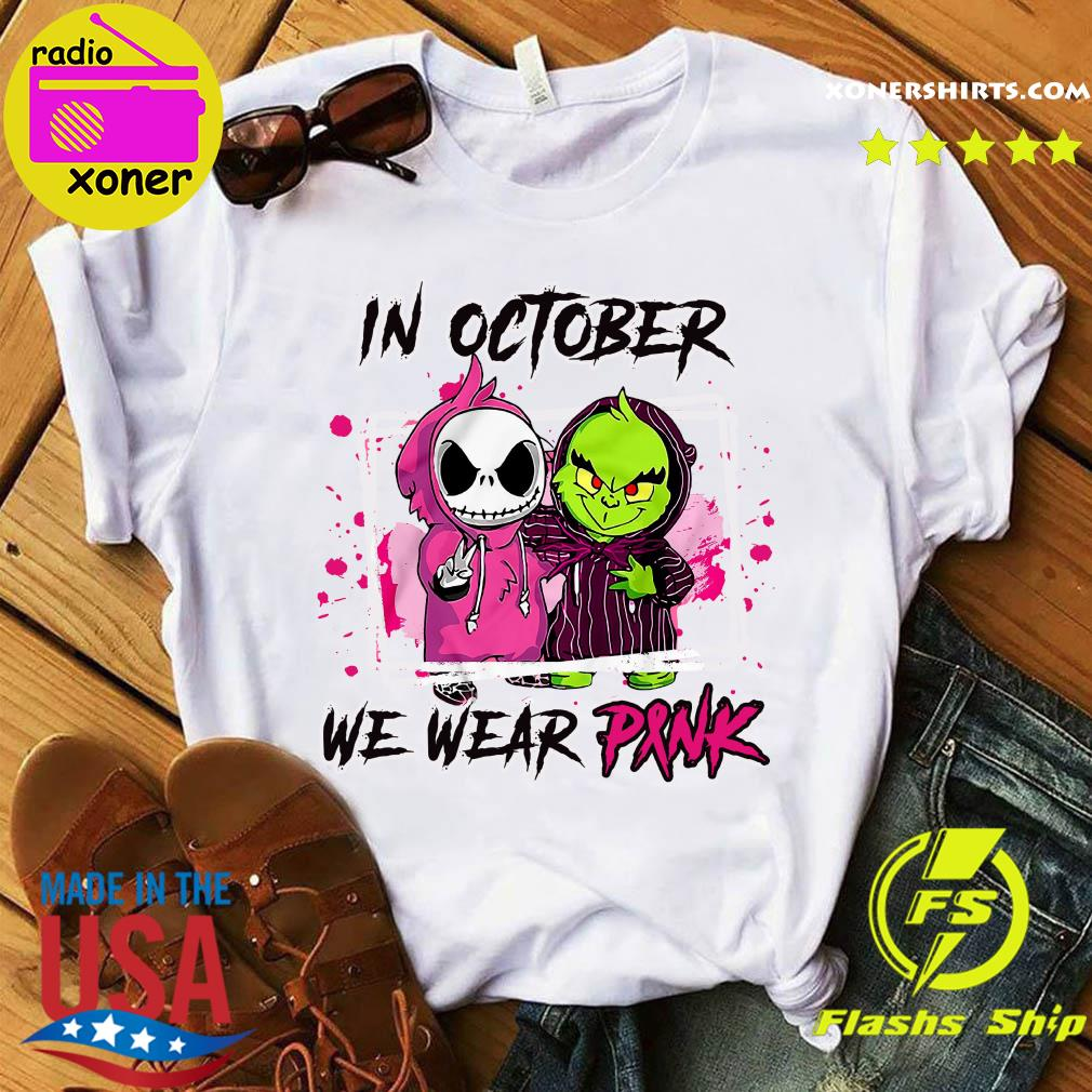 Baby Skeleton And Baby Grinch In October We Wear Pink Shirt