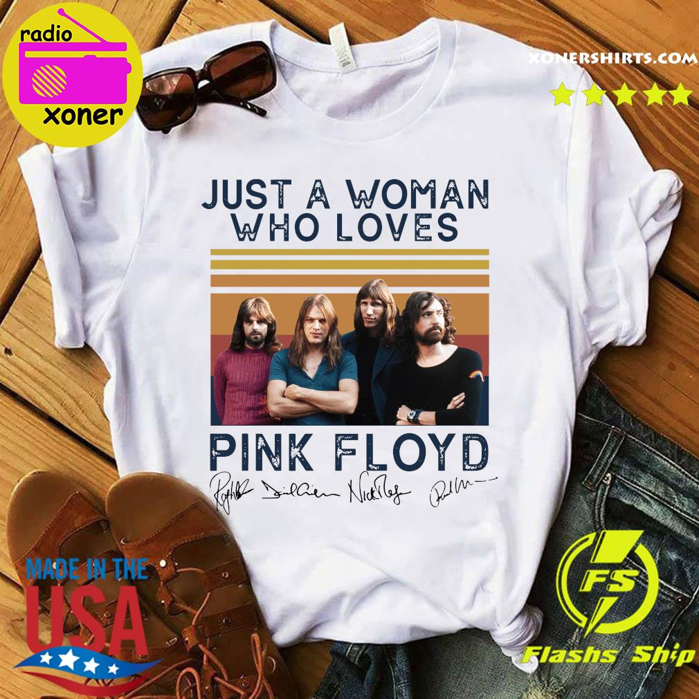 Just A Woman Who Loves Pink Floyd Vintage Signatures Shirt