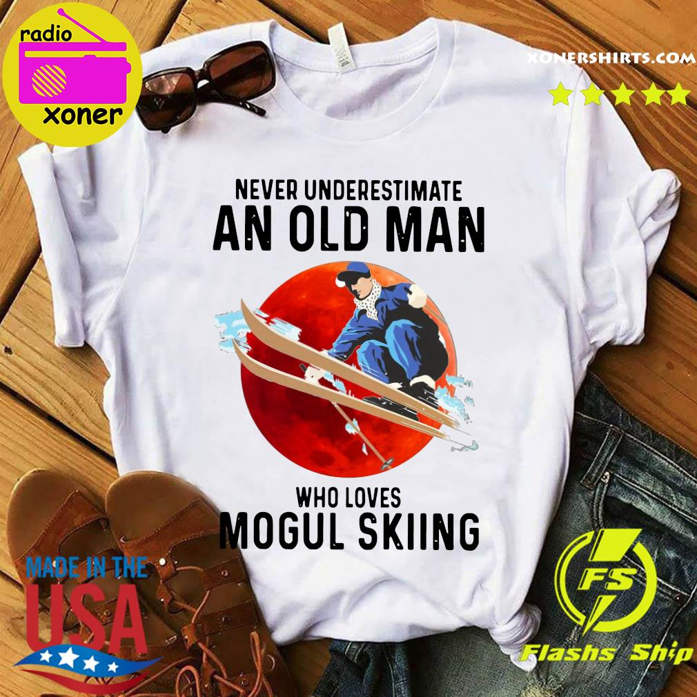 Never Underestimate An Old Man Who Loves Mogul Skiing Moon Shirt