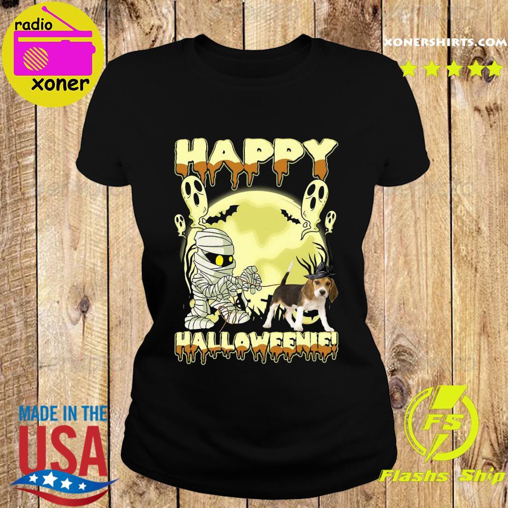 Mummies Beagle Dog Happy Halloween Moon Shirt Ladies tee