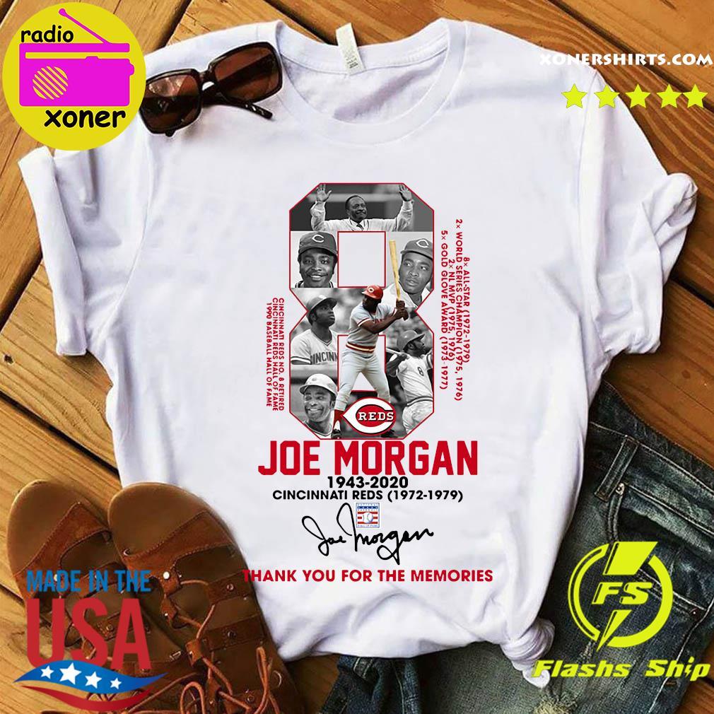 8 Joe Morgan Cincinnati Reds 1972 1979 Thank You For The Memories Signature Shirt