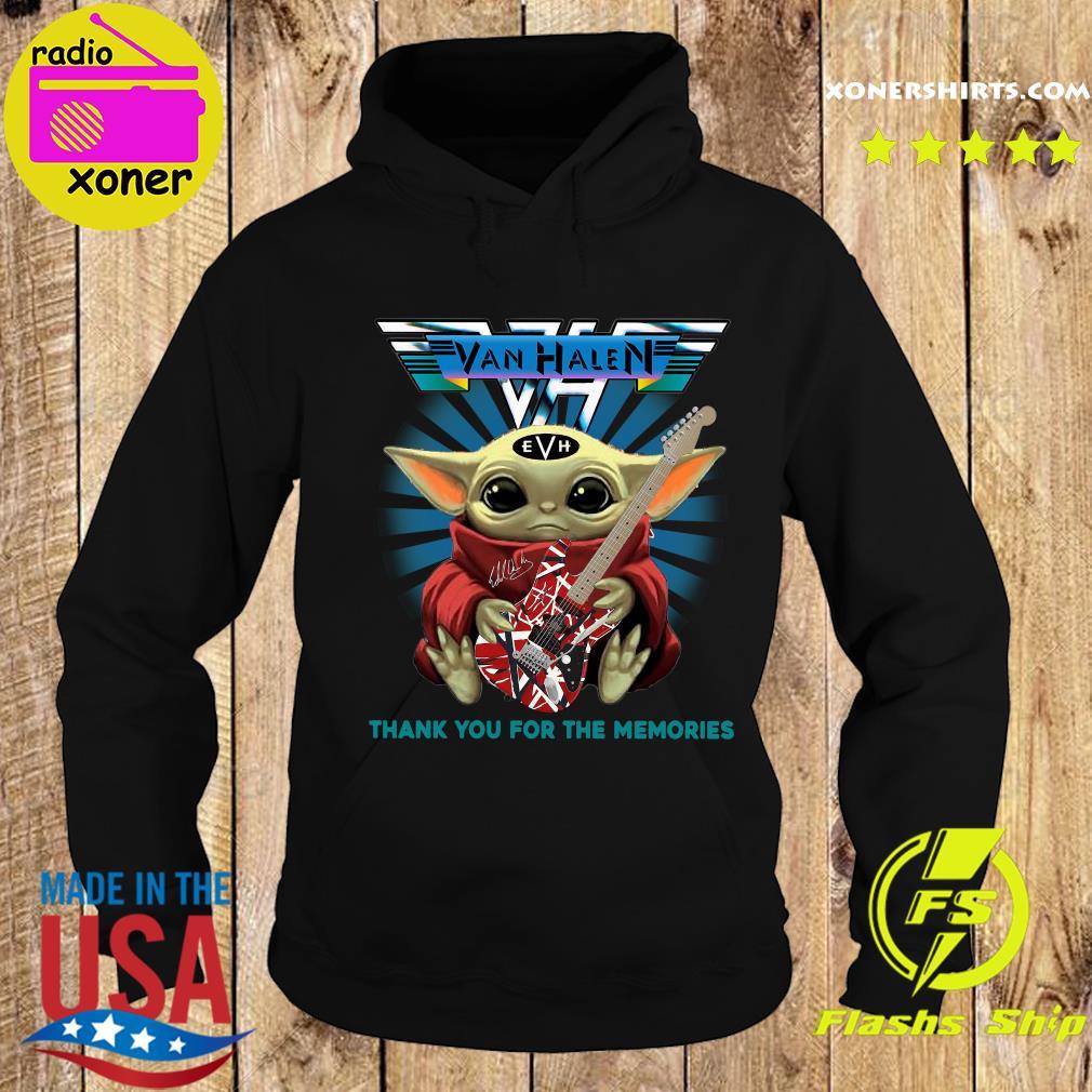 Baby Yoda Hug Guitar Eddie Van Halen Thank You For The Memories Signature Shirt Hoodie