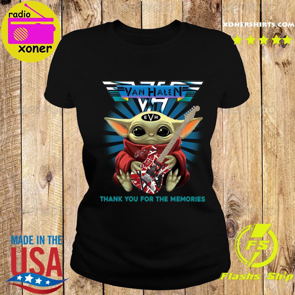 Baby Yoda Hug Guitar Eddie Van Halen Thank You For The Memories Signature Shirt Ladies tee