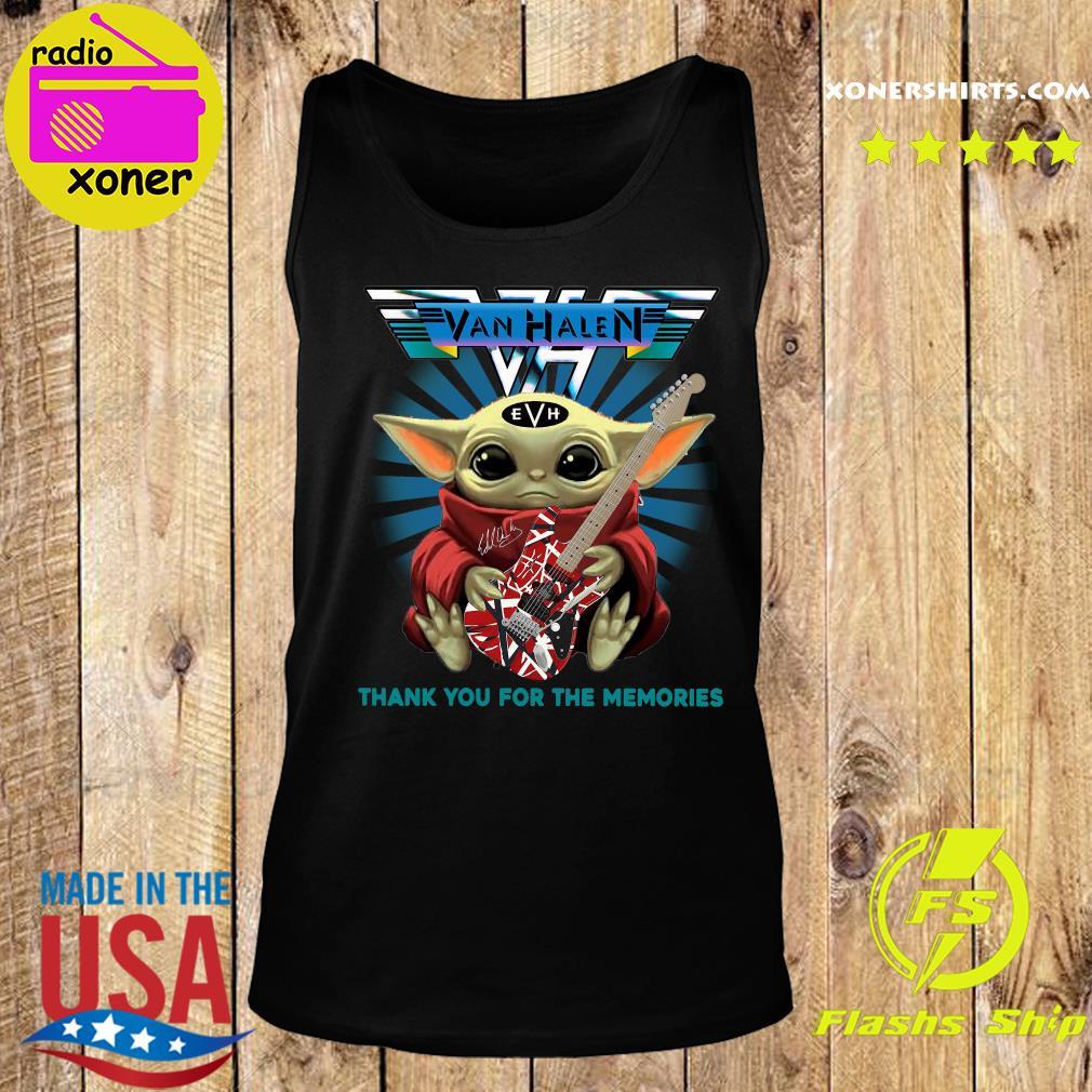 Baby Yoda Hug Guitar Eddie Van Halen Thank You For The Memories Signature Shirt Tank top