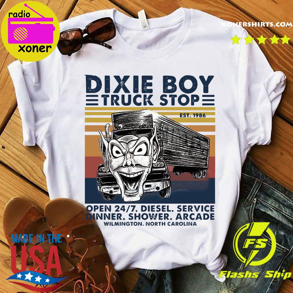 Dixie Boy Truck Stop Open 24 7 Diesel Service Vintage Shirt