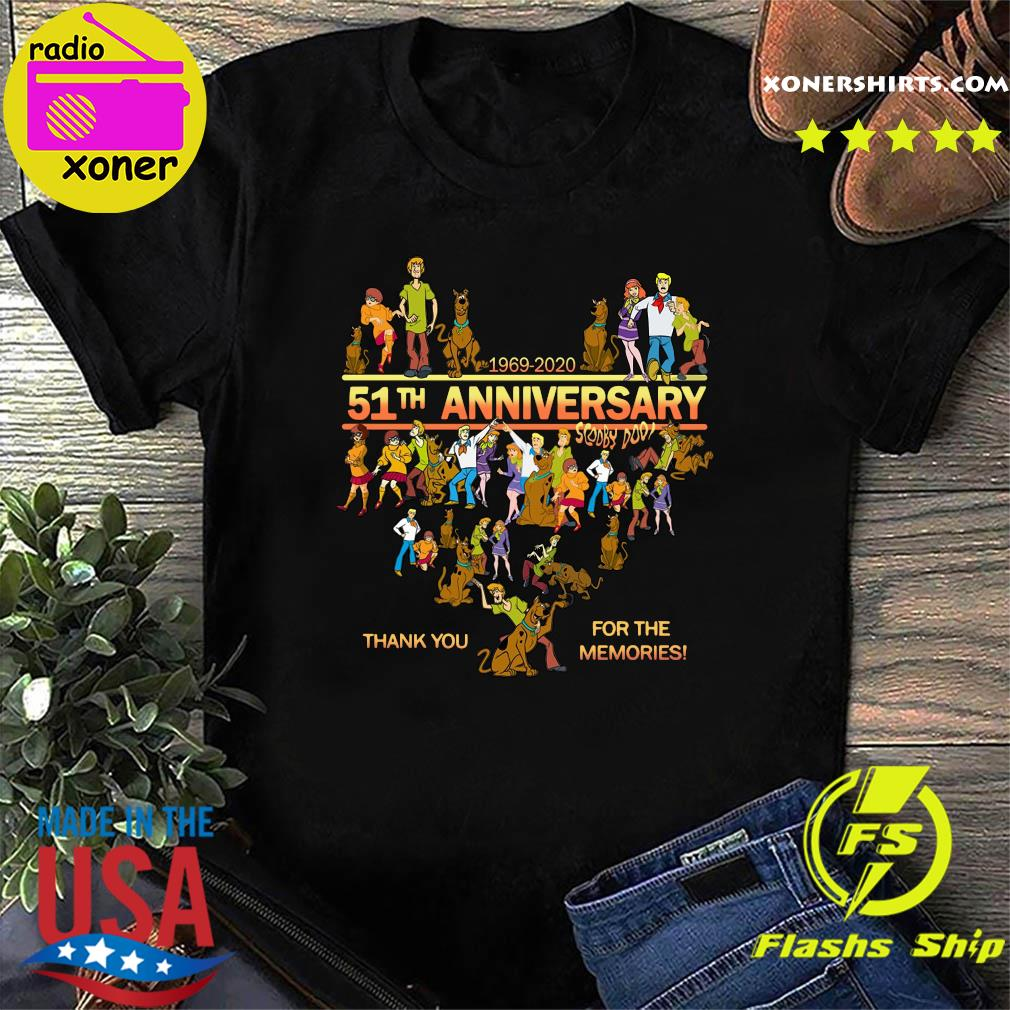 Heart Scooby Doo 51th Anniversary 1969 2020 Thank You For The Memories Shirt
