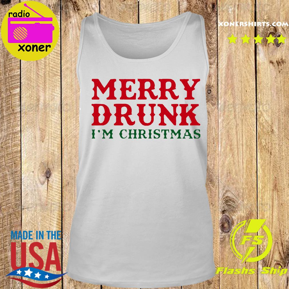 Merry Drunk I'm Christmas Colorblock Sweats Tank top