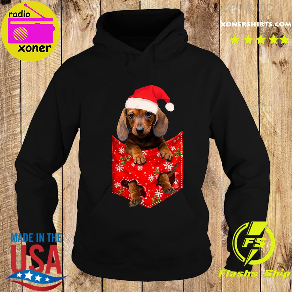 Santa Daschund Merry Christmas Sweats Hoodie