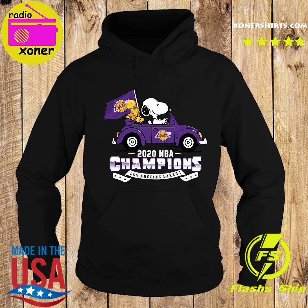 Snoopy And Woodstock Driving Car Los Angeles Lakers 2020 Nba Champions Shirt Hoodie
