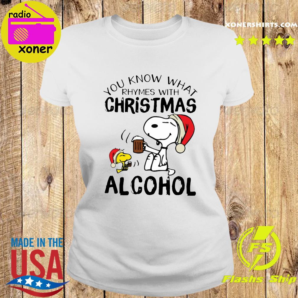Snoopy And Woodstock You Know What Rhymes With Christmas Alcohol Sweats Ladies tee