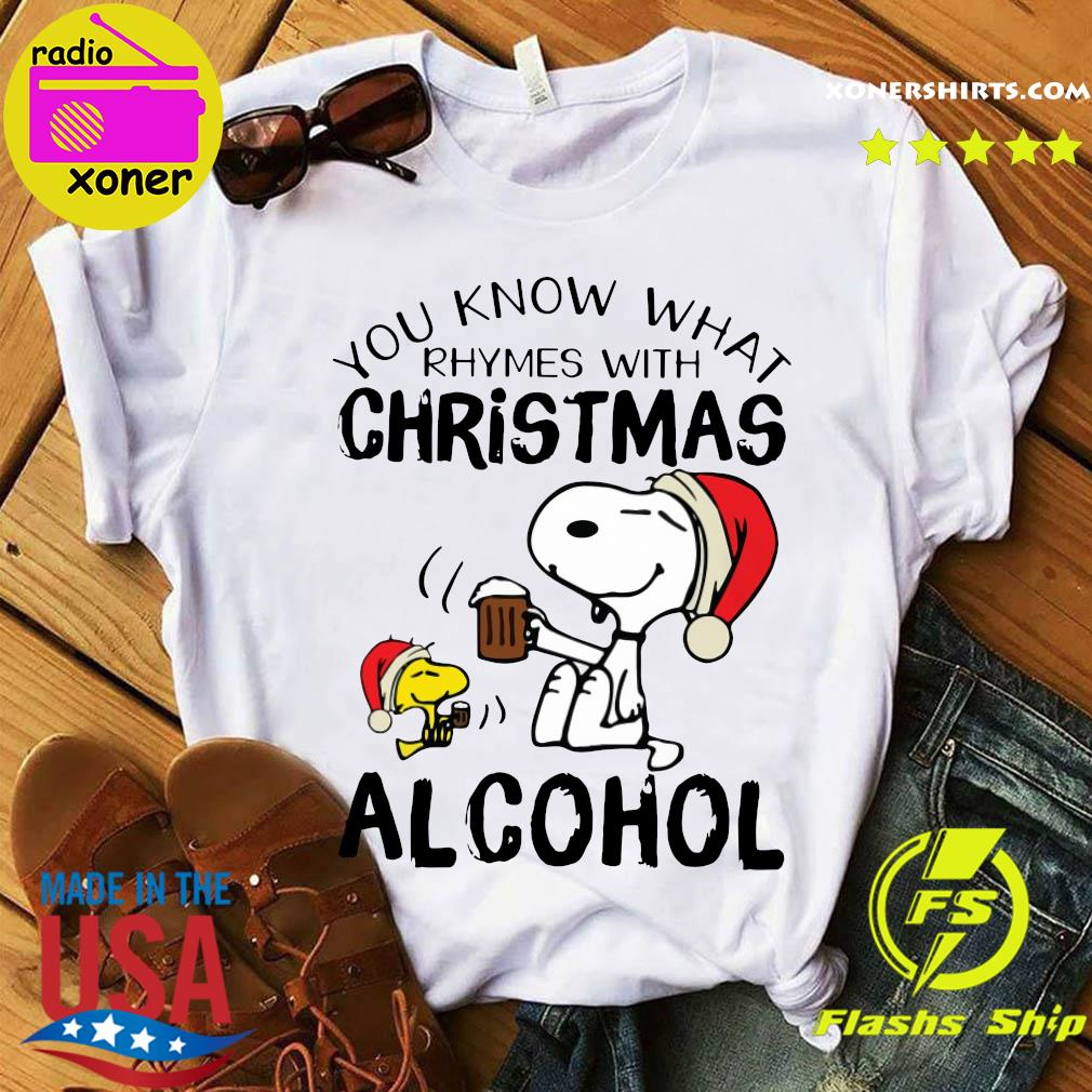 Snoopy And Woodstock You Know What Rhymes With Christmas Alcohol Sweats Shirt