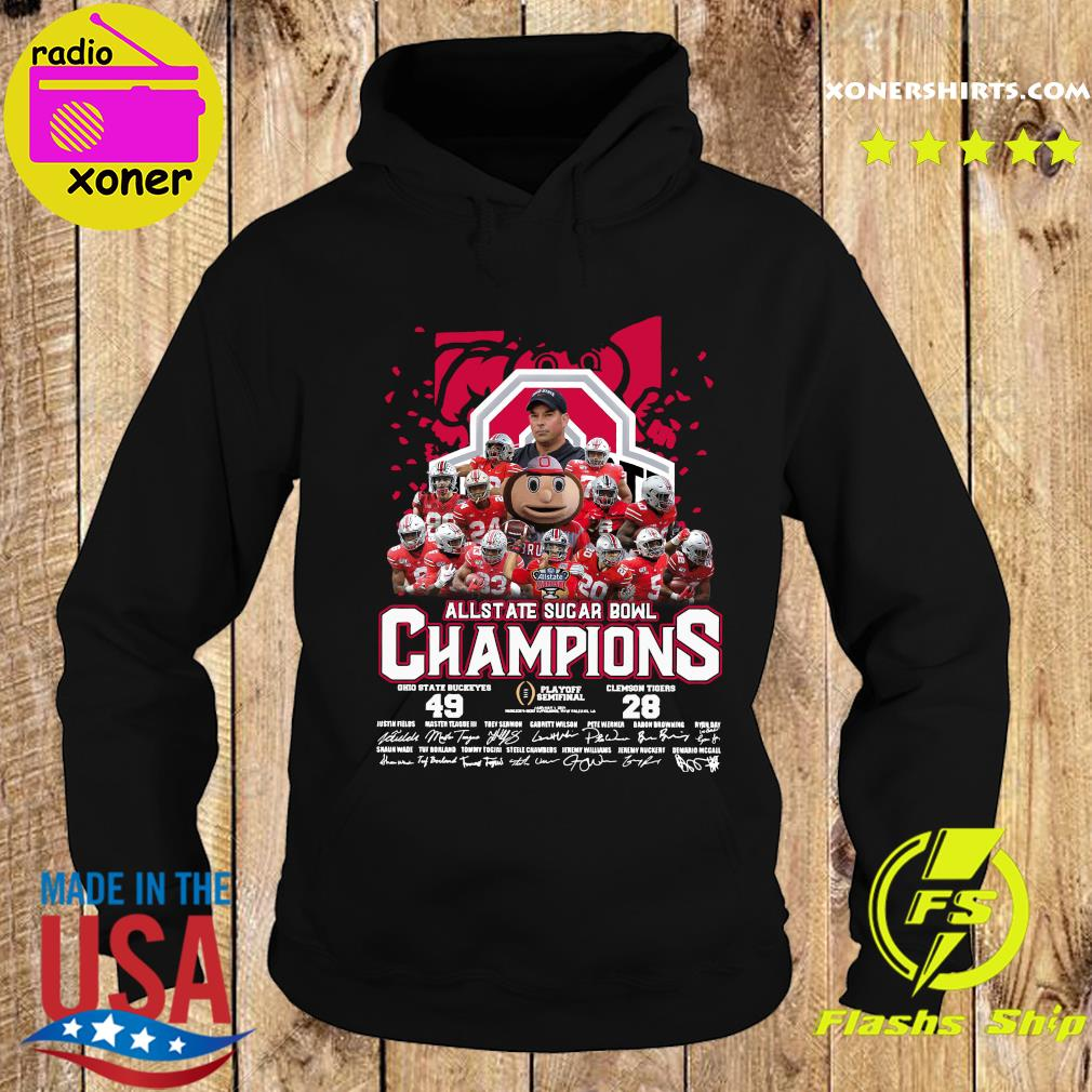 Allstate Sugar Bowl Champions 2021 Ohio State Buckeyes 49 Clemson Tigers 28 Signatures Shirt Hoodie