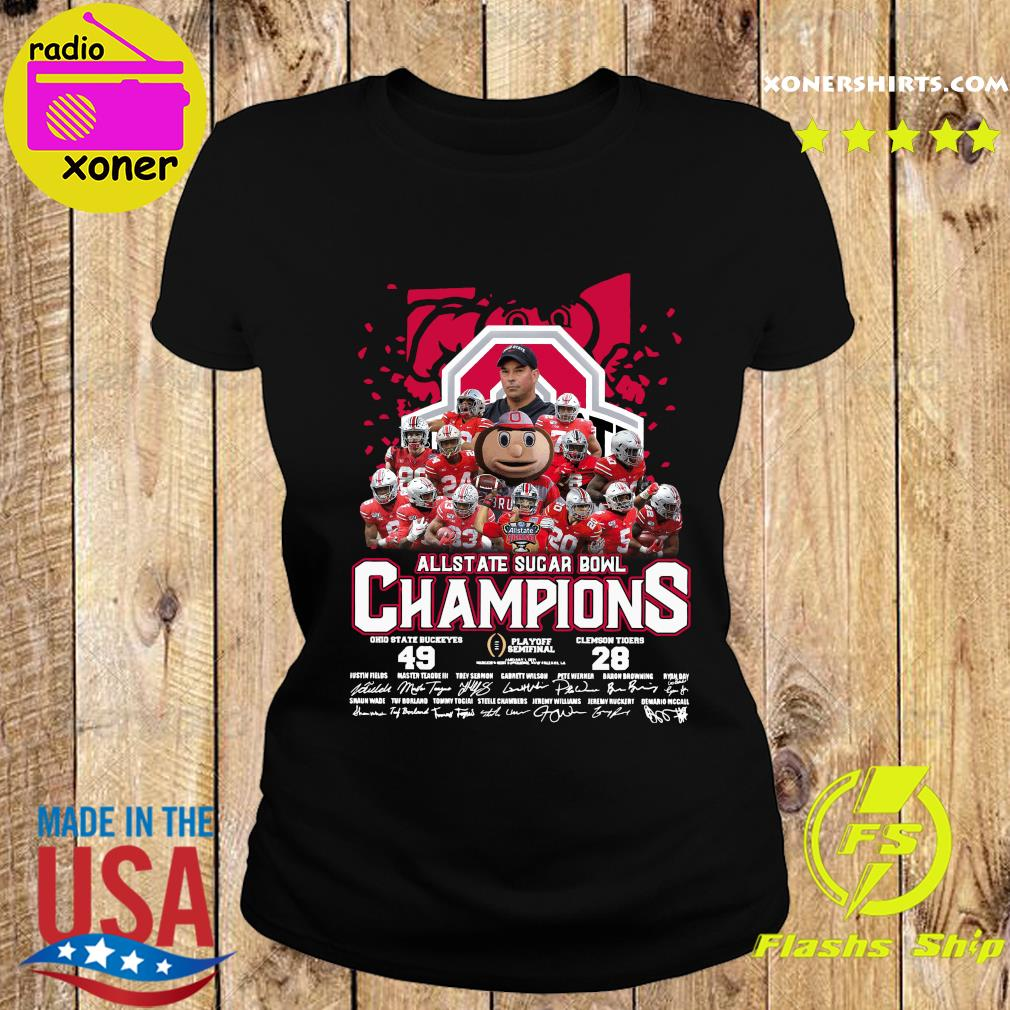 Allstate Sugar Bowl Champions 2021 Ohio State Buckeyes 49 Clemson Tigers 28 Signatures Shirt Ladies tee