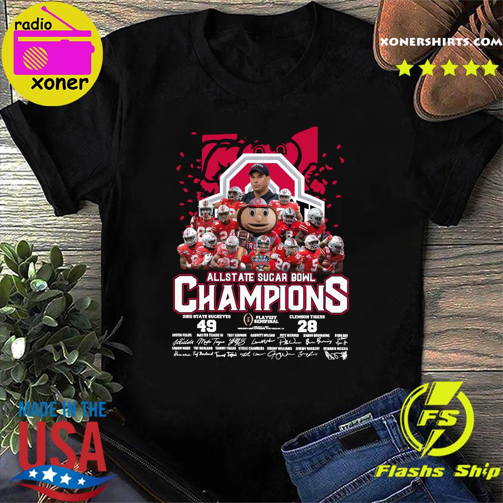 Allstate Sugar Bowl Champions 2021 Ohio State Buckeyes 49 Clemson Tigers 28 Signatures Shirt