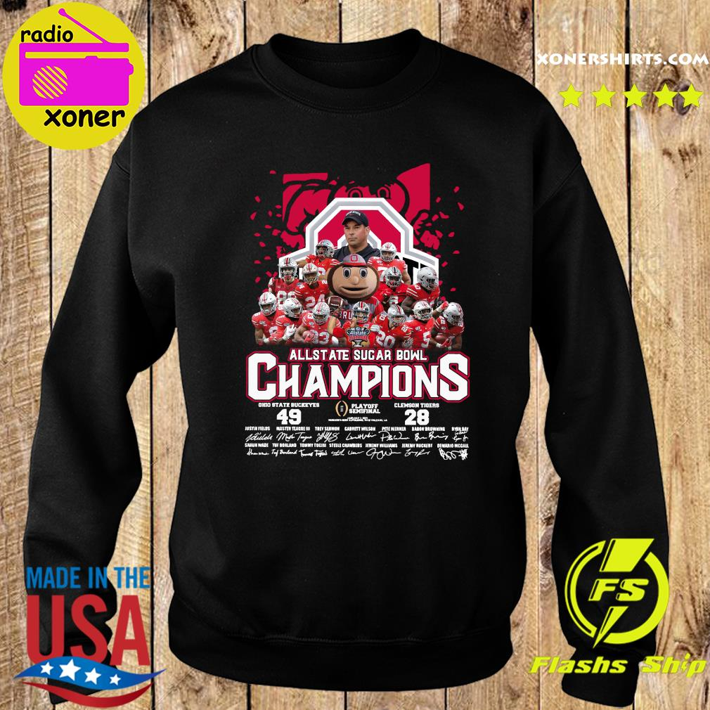 Allstate Sugar Bowl Champions 2021 Ohio State Buckeyes 49 Clemson Tigers 28 Signatures Shirt Sweater