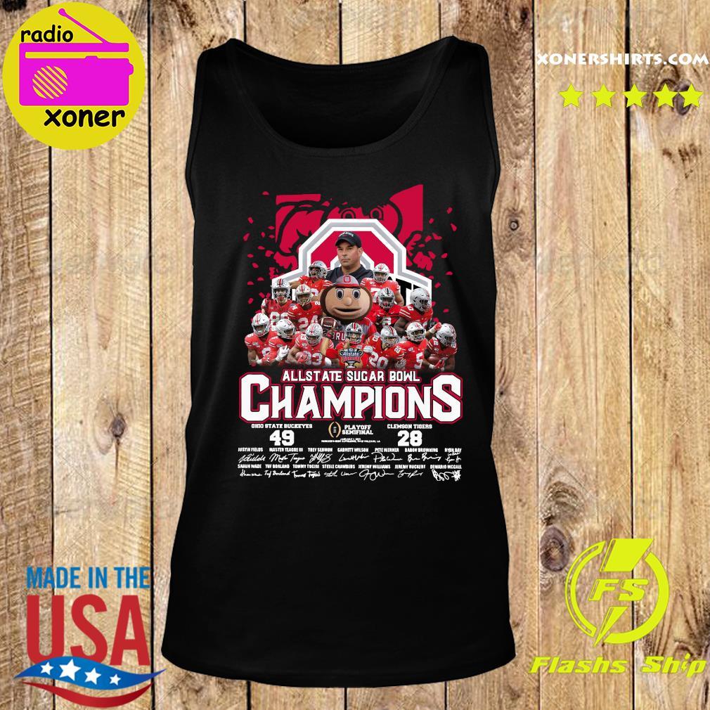 Allstate Sugar Bowl Champions 2021 Ohio State Buckeyes 49 Clemson Tigers 28 Signatures Shirt Tank top