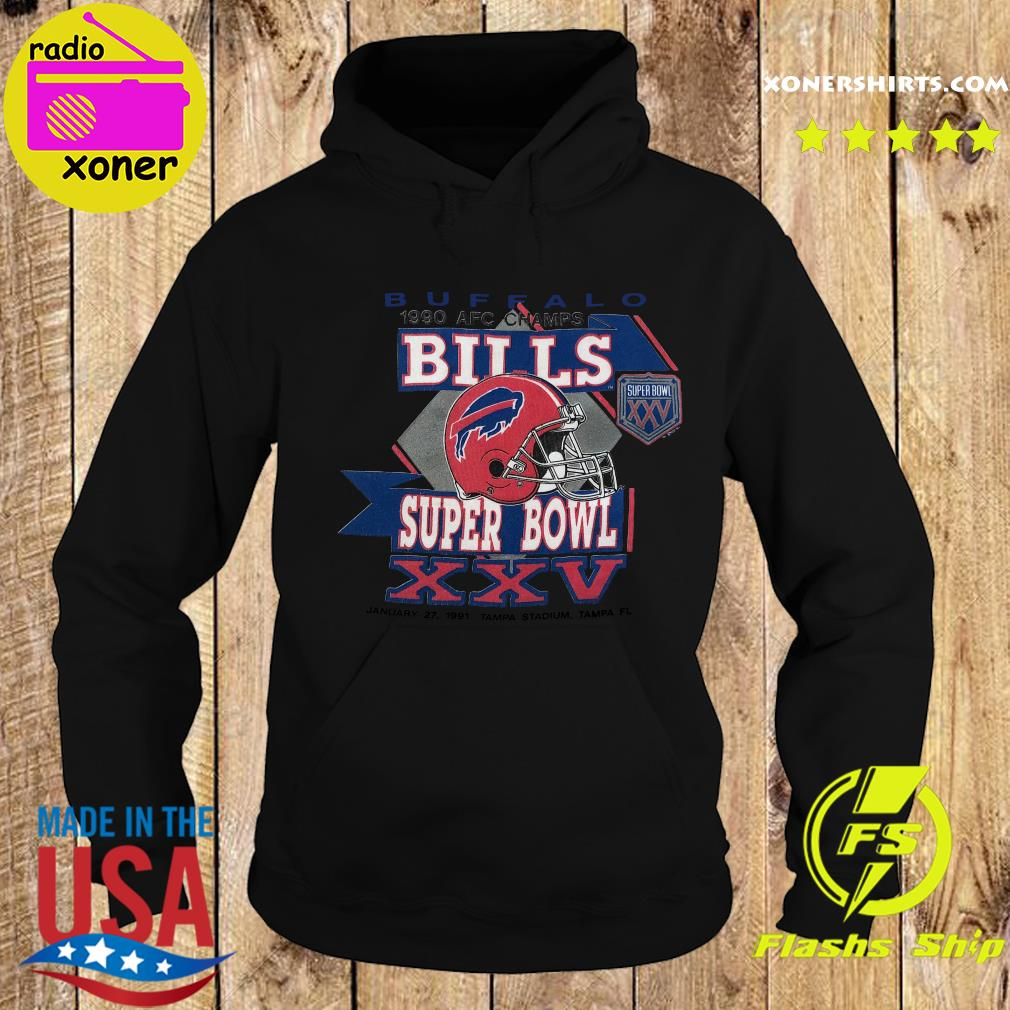 Buffalo Bills 1990 Afc Champs Super Bowl Xxv Tampa Stadium Tampa Shirt Hoodie