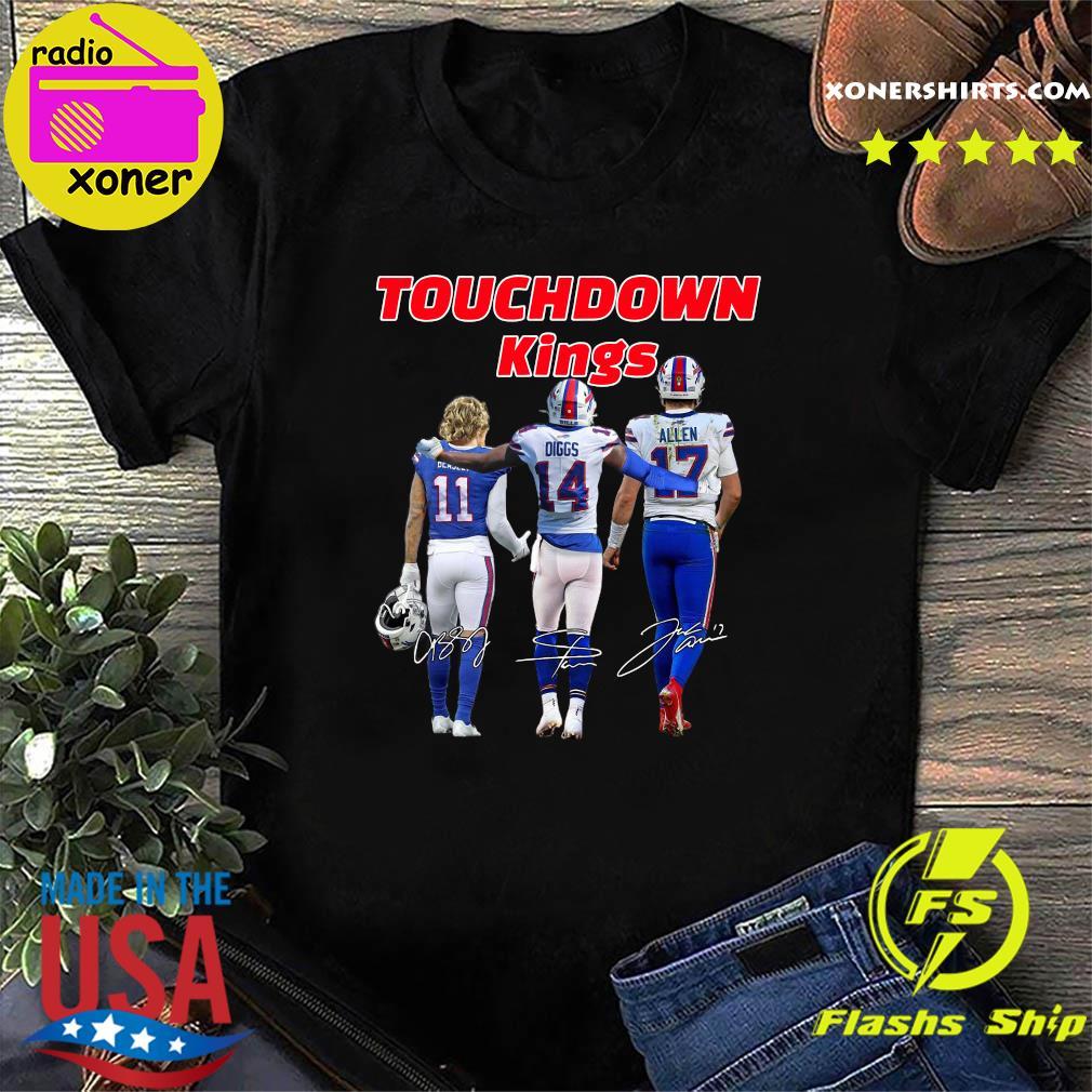 Buffalo Bills Touchdown Kings Cole Beasley 11 Stefon Diggs 14 Josh Allen 17 Signatures T-Shirt