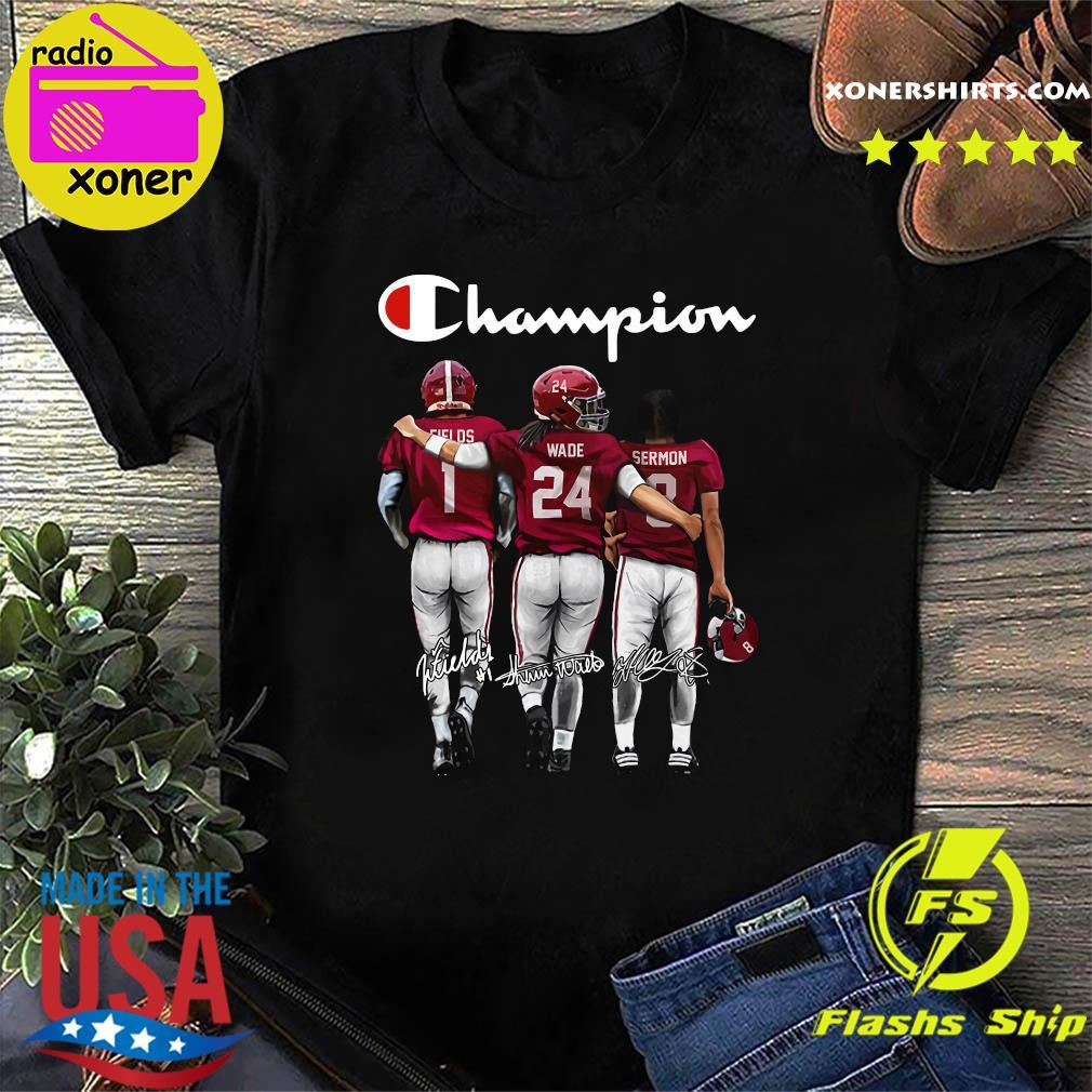 Champion Ohio State Justin Fields 1 Buckeyes Shaun Wade 24 Trey Sermon 8 Signatures Shirt