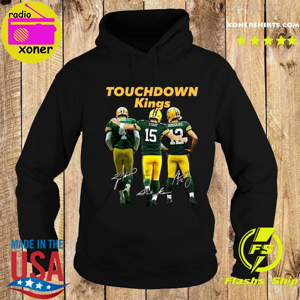Green Bay Packers Touchdown Kings Brett Favre 4 Bart Starr 15 Aaron Rodgers 12 Signatures T-Shirt Hoodie