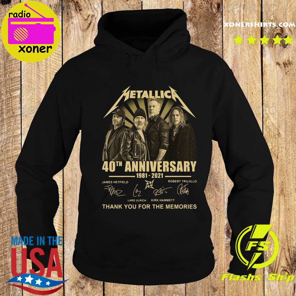 Metallica 40th Anniversary 1981 2021 Thank You For The Memories Signatures Shirt Hoodie